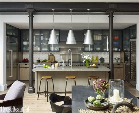 this industrial style kitchen masters mixed materials culinary arts industrial style kitchen