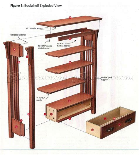 arts  crafts bookcase plans woodarchivist