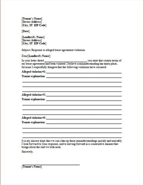 letter  landlord responding alleged lease violations