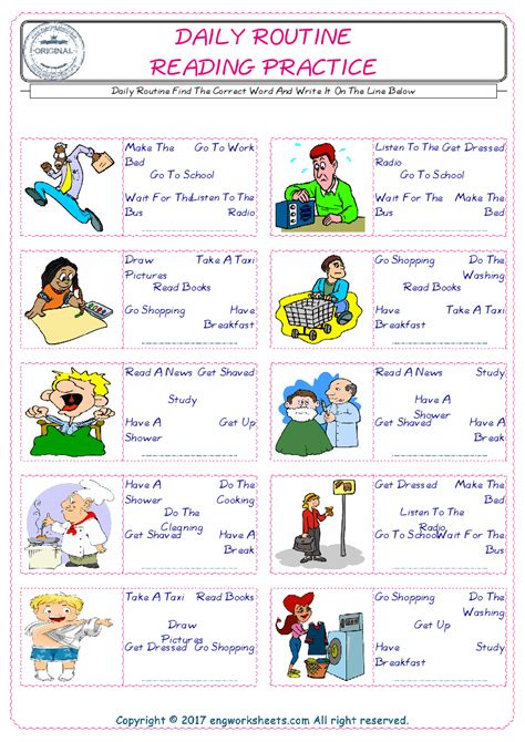 daily routine esl printable english vocabulary worksheets