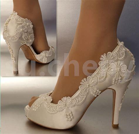 sucheny   heel satin white ivory lace pearls open toe