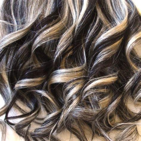 hair extensions  dark brown platinum blond mix