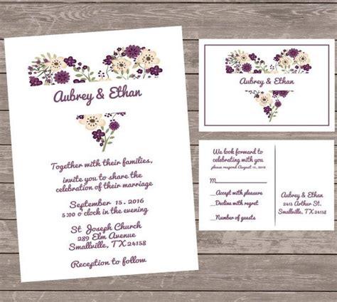 purple wedding invitations heart wedding by