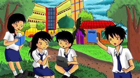 gambar kartun seragam sekolah gambar mania