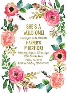 Wild One Birthday Invitation  Girl First 1st Birthday Invitation  Boho Feather Invitation