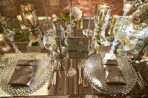 mercury glass votives reception décor photos mirror top table with sign