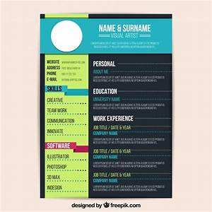 colorful resume template vector free download With colorful resume templates