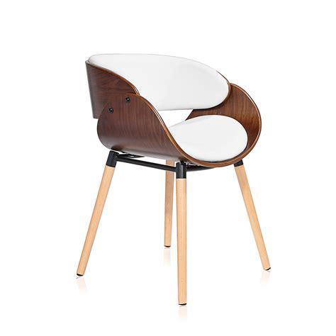 chaises bureau design makika chaise design rétro en blanc brun bureau