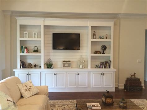 Images Of Built In Bookcases by Built In Bookcase With Shiplap Back Pallet Tv Stands