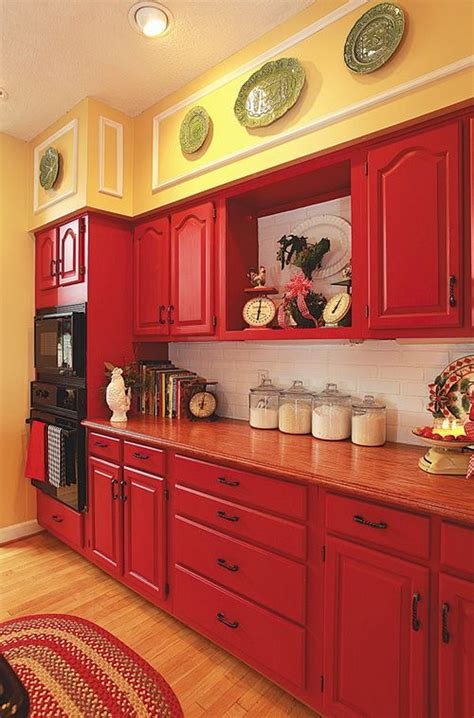 perfect red country kitchen cabinet design ideas for 80 cool kitchen cabinet paint color ideas