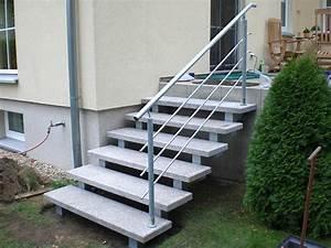 Aussentreppe mit podest treppen fur eingang baustoffe for Garten planen mit balkon treppe außen