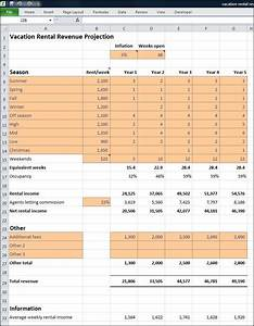 Vacation rental business plan revenue projection plan for Annual projection template