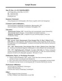 Radiology Resume Cover Letter by Resume Exle College Of Radiologic Technologist Resume Templates Radiologic Technologist