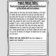 Reading Comprehension  Making Predictions Passages