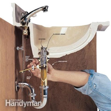 bathroom sink drain stopper removal how to clear clogged drains the family handyman