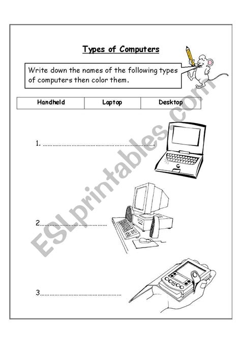 english worksheets types  computers