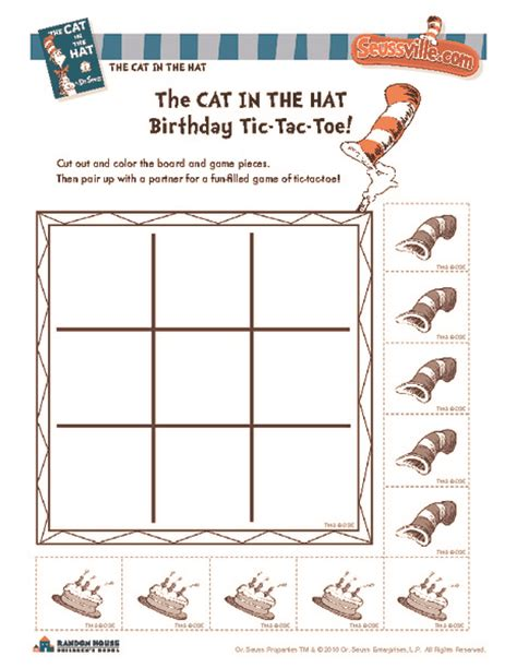 the cat in the hat birthday tic tac toe worksheet for kindergarten 2nd grade lesson planet