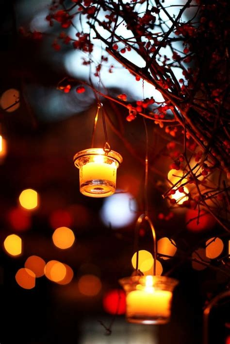 Lights Outdoor Wallpaper by Picture Of Berry Branches And Candles In Candle Lanterns