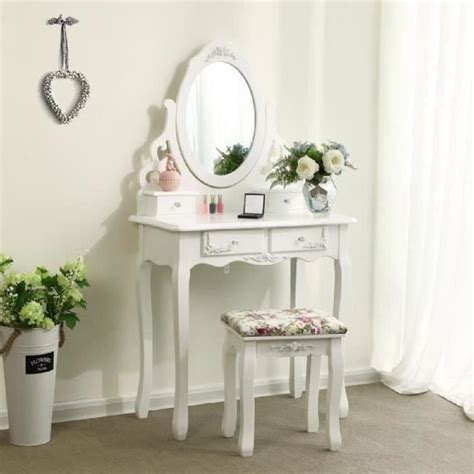 bureau maquilleuse songmics blanc coiffeuse table de maquillage avec miroir
