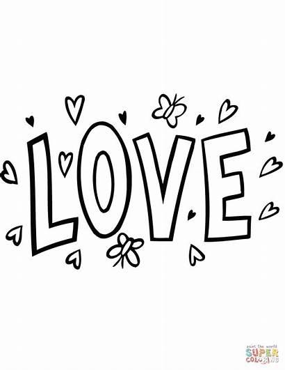 Word Coloring Clipart Colorear Dibujos Printable Amor