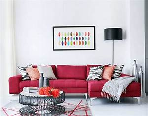 modern living room with white walls and a sectional red With furniture for living room with white walls
