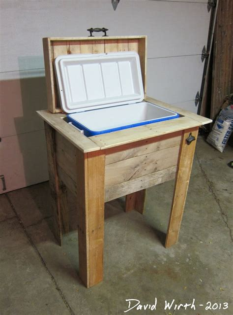 rustic outdoor cooler stand wood pallet