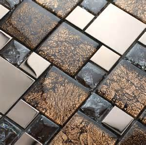stainless steel tiles for kitchen backsplash stainless steel mosaic mix glass mosaic tile kitchen backsplash ssmt141 gold metallic mosaic