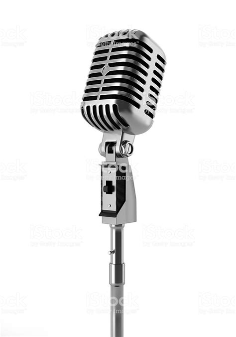 vintage microphone isolated  white background stock
