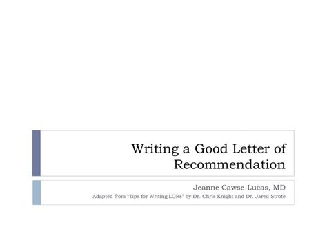 writing  good letter  recommendation powerpoint