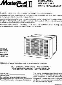 Adobeair Evaporative Cooler Manual L0406099