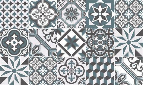 tapis vinyle carreaux de ciment ginette bleu gris