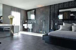 attrayant modele de chambre peinte 4 chambre avec salle With chambre avec salle de bain ouverte et dressing