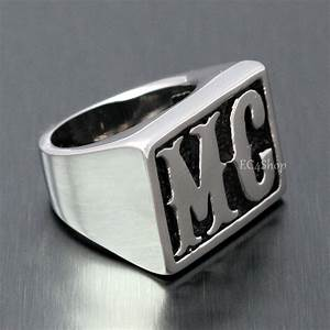 men39s motorcycle club the mc initial letter stainless With biker letter rings