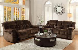 Chocolate microfiber reclining sofa loveseat cup holder for Sectional recliner sofa with cup holders in chocolate microfiber