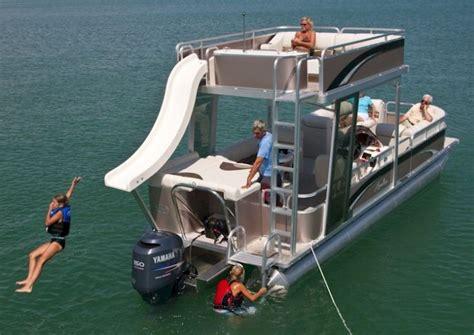 deck pontoon with slide 1000 ideas about pontoon boat on