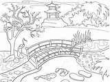 Coloring Japanese Cartoon Garden Nature Japan Children Vector Illustration Landscape Drawing Desert Clipart Pond Koi Fish Zentangle Mushroom Buddhism Background sketch template