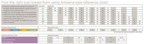 amoena breast forms size chart amoena women s energy cosmetic 2s at women s