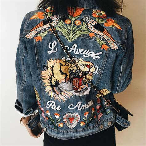 Best 25 Gucci Tiger Jacket Ideas On Pinterest Embroidered Denim
