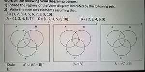 Solved  Wopk On Th U00e9 Tollowing Venn Diagram Problems  1  Sh