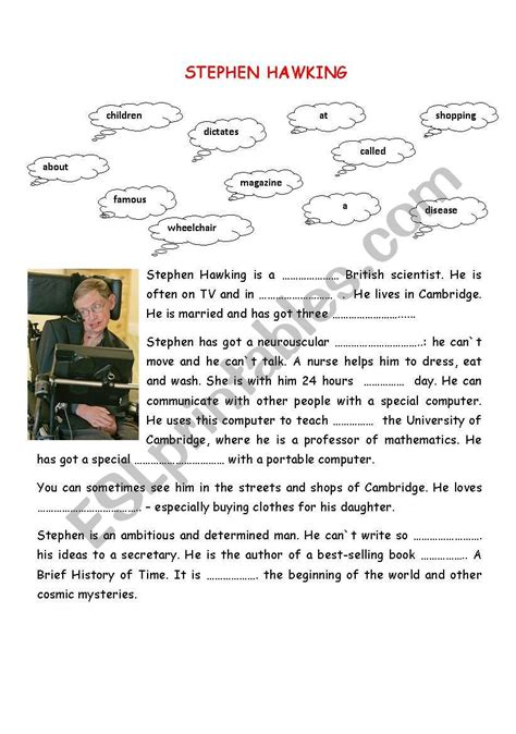 stephen hawking biography worksheet stephen hawking esl worksheet by tasica