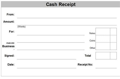 cash receipt templates  excel xls format excel xls
