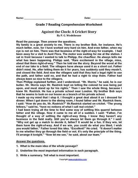 Students learn about the characteristics and needs of comprehension. 10+ Reading Comprehension Grade 7 Worksheet ...