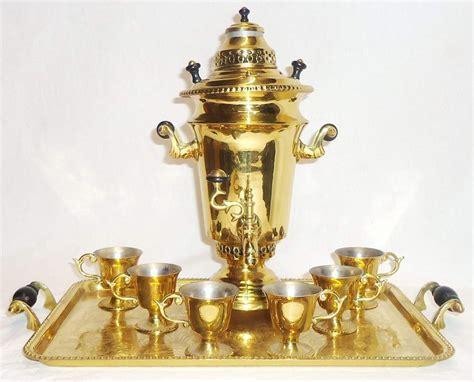 antique russian soviet small samovar urn tea set color
