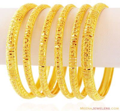 22k gold bangles set 6 pc bast16298 22k gold bangles set 6 pcs beautifully handcrafted
