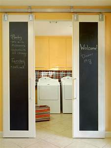 yellow cabinets eclectic laundry room bhg With barn door for laundry closet