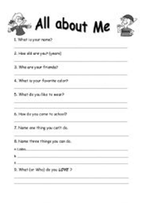 worksheet write about yourself basic