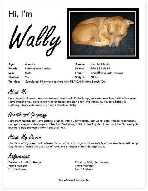 landing a friendly apartment create a pet resume