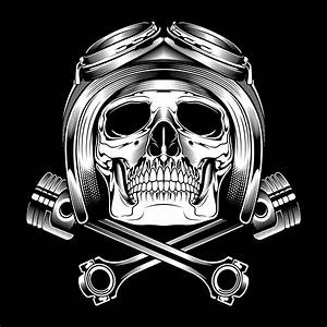 Black And White Helmeted Skull And Pistons Drawing