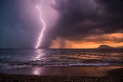 Storm Ocean Lightning Rain Sea Night Beach