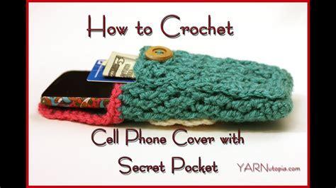 crochet  cell phone cover   secret pocket